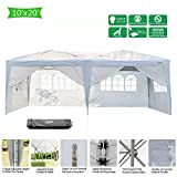 #10: VINGLI Heavy Duty 10'x20' Ez Pop Up Canopy Tent with 6 Removable Sidewalls Panels,Folding Instant Wedding Party Outdoor Commercial Event Gazebo Pavilion W/Portable Rolling Carrying Bag,White