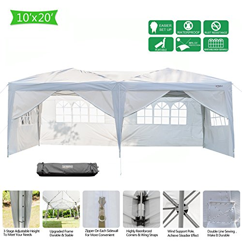 VINGLI Heavy Duty 10'x20' Ez Pop Up Canopy Tent with 6 Removable Sidewalls Panels,Folding Instant Wedding Party Outdoor Commercial Event Gazebo Pavilion W/Portable Rolling Carrying Bag,White