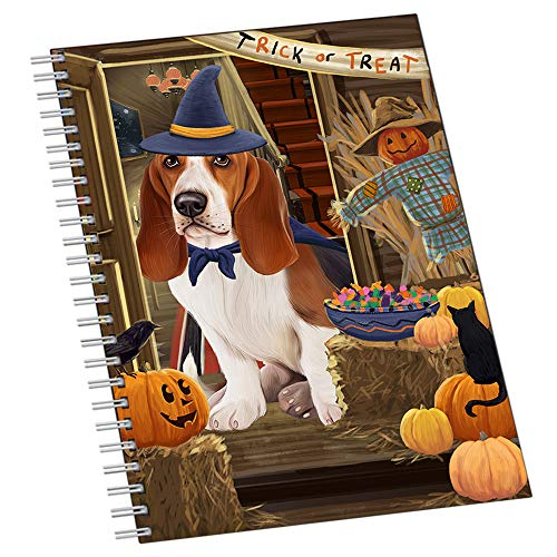Enter at Own Risk Trick or Treat Halloween Basset Hound Dog Notebook NTB51812]()