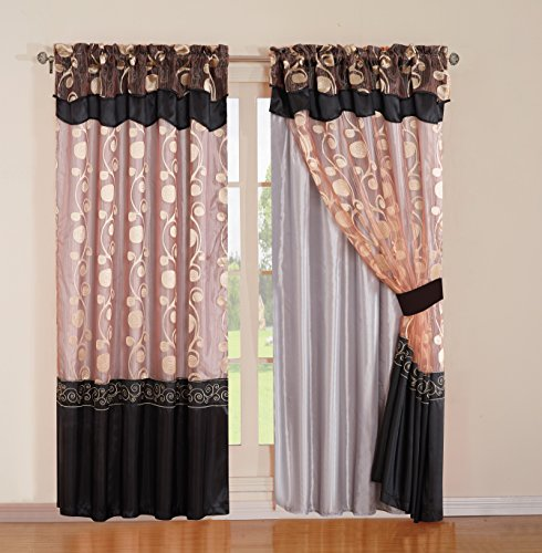 Hang Drapery Panels (MarCielo Jacquard Curtain Set 2 Panel Drapes With Backing & Valance Window Treatment Drapery Blackout, AVE)