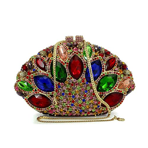 Purse Sector Handbag Multicolour Clutch Women Silver Flada Gemstone Shape Evening Rhinestones Wedding IqSEzw