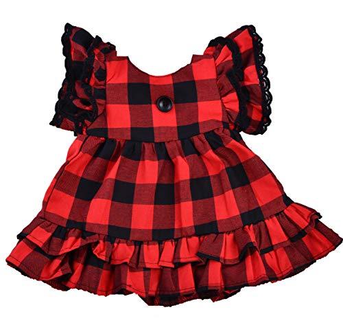 Girls Buffalo Check Plaid Dress Christmas Party Dresses (5T) -