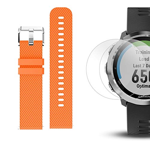 Garmin Forerunner 645 Bundle with Extra Band & HD Screen Protector Film (x4) | Running GPS Watch, Wrist HR, LiveTrack, Garmin Pay (Stainless, Orange) by PlayBetter (Image #6)