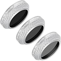 Neewer 3 Pieces Filter Kit for DJI Mavic Pro Drone Quadcopter Includes: ND4/PL, ND8/PL and ND16/PL Lens Filters, Made of Optical Glass, Multi Coated, Aluminum Alloy Frame (Silver)