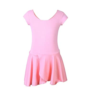 f984f78b4efc ... Old Girls Ballet Leotard Dress Short Sleeve Tutu Dresses Dance  Gymnastics Dancewear Costume For Kids Toddlers (Pink, 5-6 T): Amazon.co.uk:  Clothing