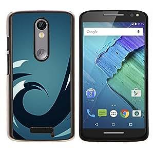 Ola azul- Metal de aluminio y de plástico duro Caja del teléfono - Negro - Motorola Droid Turbo 2 / Moto X Force