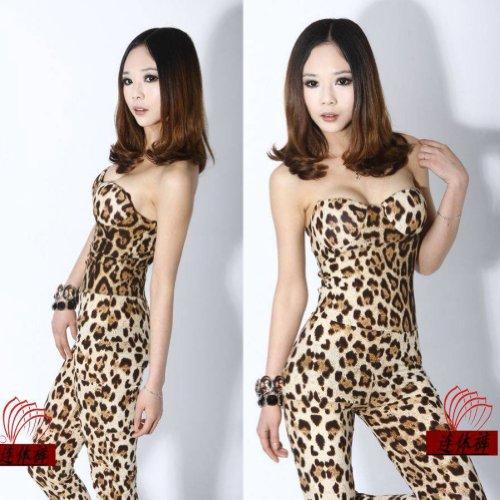Zehui Womens Strapless Jumpsuit Playsuit Bodysuit Rompers Leopard