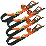 Vulcan ProSeries 1-Ply Flexible Axle Tie Down Combo Strap With Chain Tail Ratchet - 3,300 lbs. Safe Working Load (2'' x 102'' - Pack of 4)