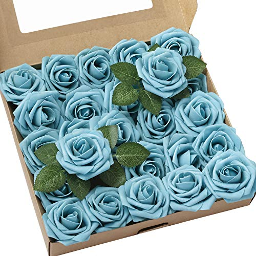 Ling's moment Artificial Flowers 25pcs Real Looking Aqua Blue Fake Roses w/Stem for DIY Wedding Bouquets Centerpieces Bridal Shower Party Home Decorations