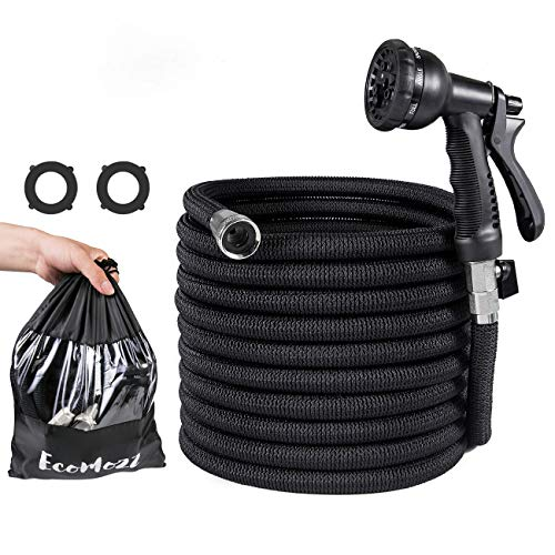 EcoMozz New 75ft Expandable Garden Hose with Double Latex Core – Strongest Flexible Water Hose with 3/4″ Nickel Plated Solid Brass Fittings – Anti-Kink Pocket Hose with 8 Function Spray Nozzle