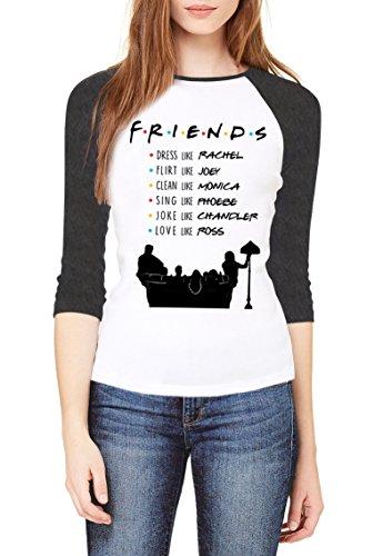 Topcloset Friends TV Show Name List Women 3/4 Sleeve Raglan Baseball T-Shirt Size L