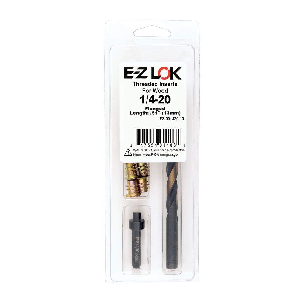 Flanged EZ-901420-13 Threaded Insert Installation Kit for Soft Wood 1//4-20 x 13mm E-Z Hex