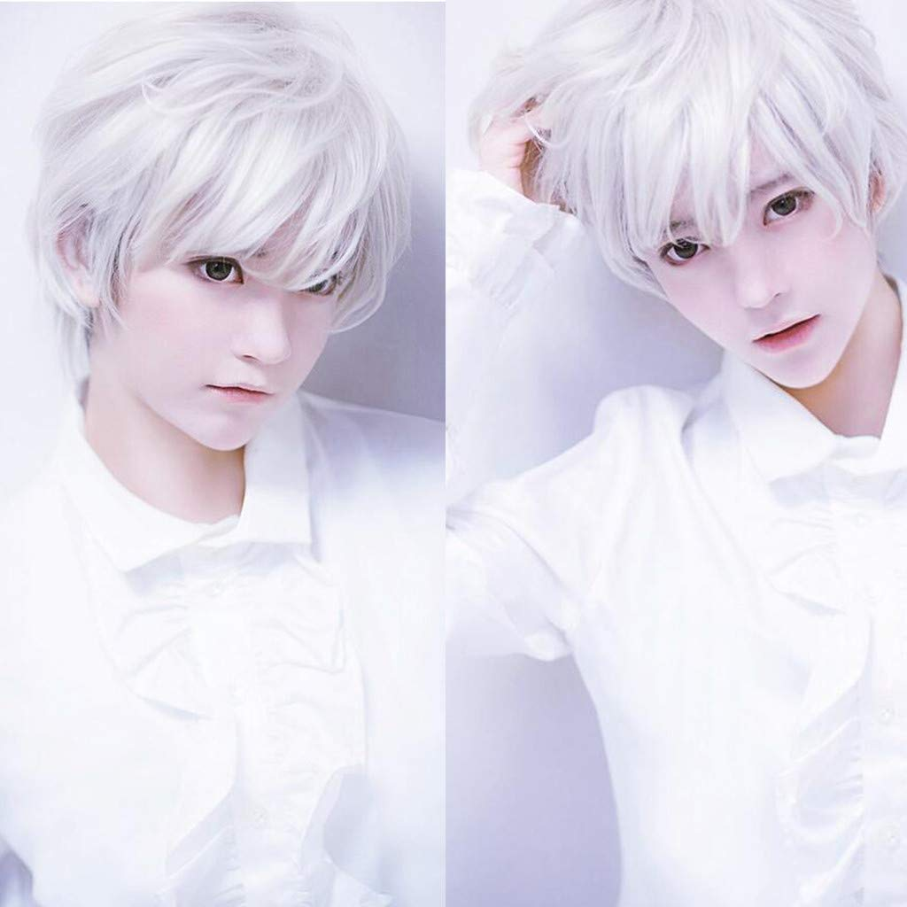 Hot Sale Owmeot Adult Mens Guy Male Brown Wigs Short Straight Synthetic Hair Middle Part Wig For Guy Natural Looking Cosplay Anime Wig White