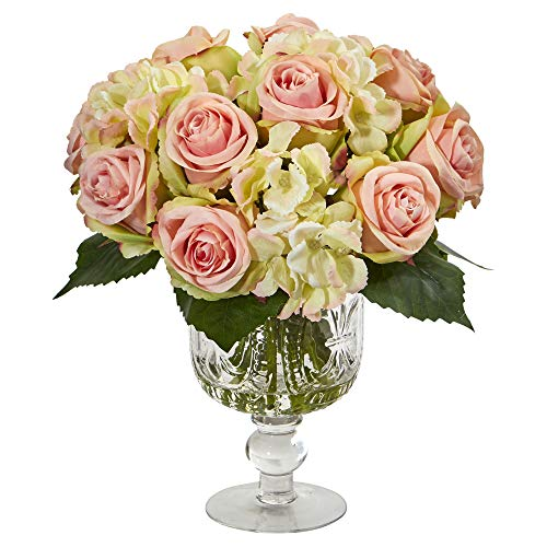(Nearly Natural 1850 Rose and Hydrangea Artificial Royal Glass Urn Silk Arrangements Pink)