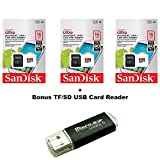 SanDisk Ultra 16GB Ultra Micro SDHC UHS-I/Class 10 Card with Adapter (3 PACK) (SDSQUNC-016G-GN6MA) + BONUS SD/TF USB CARD READER