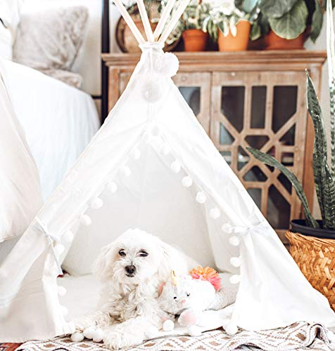 little dove Pet Teepee House Fold Away Pet Tent Furniture Cat Bed with Cushion 28 Inch White Pompom