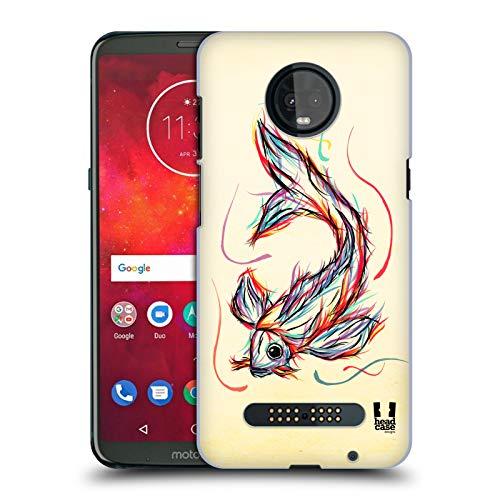 Fish Colourful - Head Case Designs Koi Fish Colourful Animal Scribbles Hard Back Case Compatible for Motorola Moto Z3 / Z3 Play