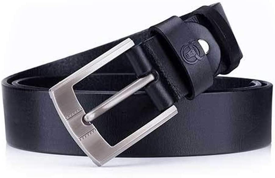 Color : Brown, Size : 115cm, Style : A Mens Belt Crazy Horse Skin Cream Leather Leather Pin Buckle Thickening Youth Casual Belt