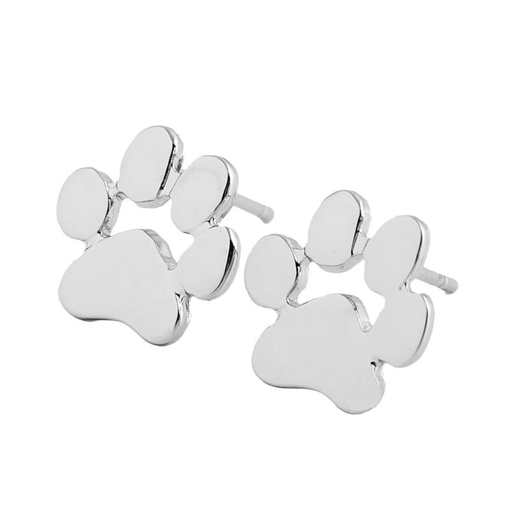 Lovind Animal Foot Stud Earring,Fashion Silver Plated Earring for Girl Gift Valentine's Day Present