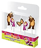 Festive Set of 5 Candles of Figures Masha and the Bear Party Supplies Cake topper for the Birthday Holiday Masha y el Oso para niños