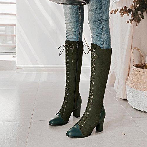 YE Damen Kniehoch Stiefel Blockabsatz High Heels mit Schnürung und Reißverschluss 8cm Absatz Elegant Schuhe Grün