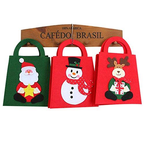 IFOYO Bags, 3 Pack Gift Tote Bag Christmas Treat Bags Santa Gift Bags, Snowman, Santa Claus, Deer