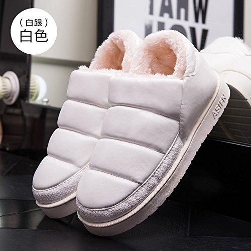 Fankou autunno e inverno pantofole di cotone borsa con il giovane home impermeabile antiscivolo spessore caldo uomini e donne pantofole inverno, 35-36 adatto 34-35, piccole scarpe bianco