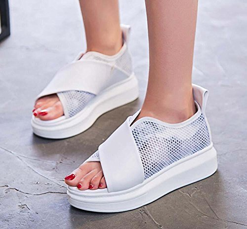 Net Shoes Sport Yarn White Pump Slip 34 Hole Anti Casual Fitness Women Running Eu Thick Mesh Snakers Sandals Shoes Shoes Toe Bottom Size Breathable Peep 40 EaEprZwq