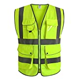 J.K 9 Pockets Class 2 High Visibility Zipper Front Safety Vest With Reflective Strips, Yellow Meets ANSI/ISEA Standards (X-Large)