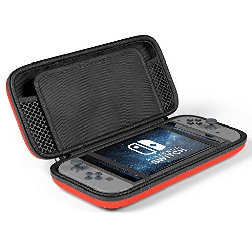 Maxboost Nintendo Switch Travel Case, Protective Hard Case with 10 Game Cartridges Slots Holder, Double Zipper Design, Soft Padded Divider Card Bag Case for Nintendo Switch (Red)