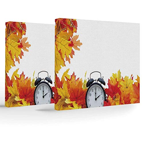 YUQIANG Birthday Decorations,Clock Decor,Modern Stretched Framed Artwork,Autumn Leaves an Alarm Clock Fall Season Theme Romantic Digital Print,Beautiful Decorations