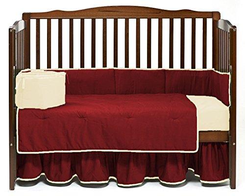 (Nursery Baby Reversible Crib Bedding Set 100% Egyptian Cotton 500 TC 5-Piece Set Fitted Sheet, Dust Ruffle Skirt,Comforter,Bumper,Pillowcase (Burgundy/Ivory,Crib))