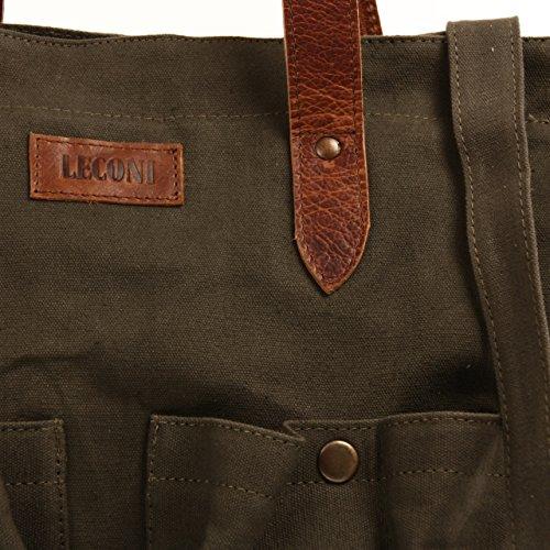 Leconi - Bolso de asas para hombre verde - grün / braun