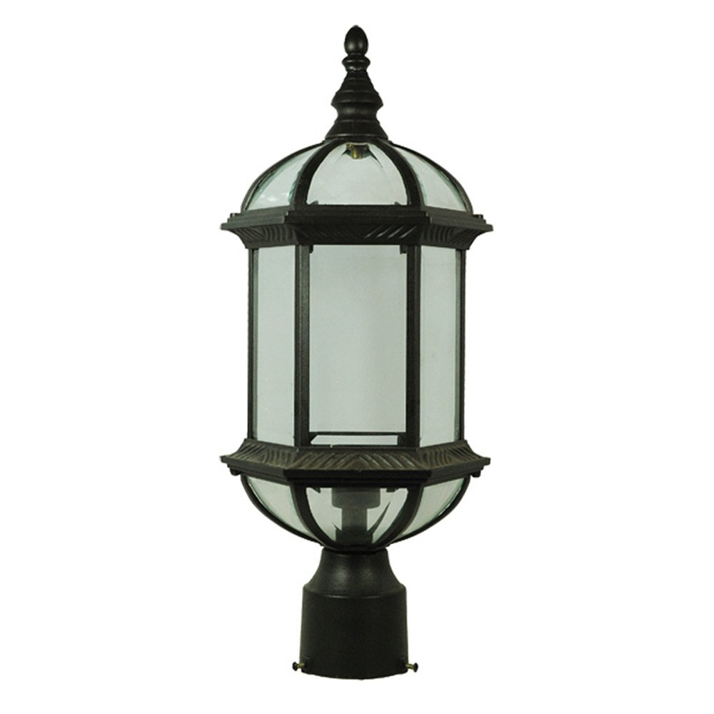 ETOPLIGHTING Contemporary Collection Exterior Outdoor Post Lantern with Beveled Clear Glass APL1024