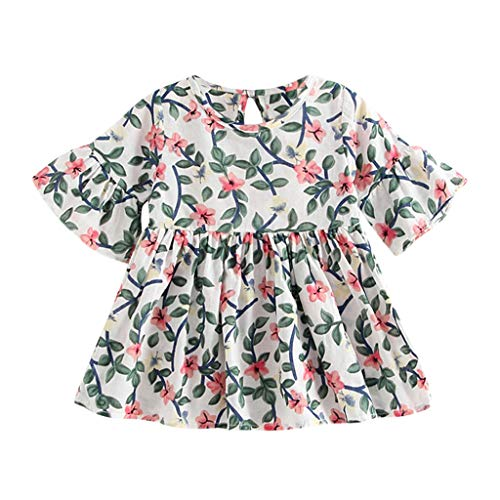 - Respctful✿Baby Teen Girls Casual Floral Princess Dress Summer Ruffle Dress Chiffon flral Print Short Sleeve Army Green