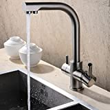JiaYouJia Kitchen Faucet with Water Filtering and Swivel Neck Brushed Nickel