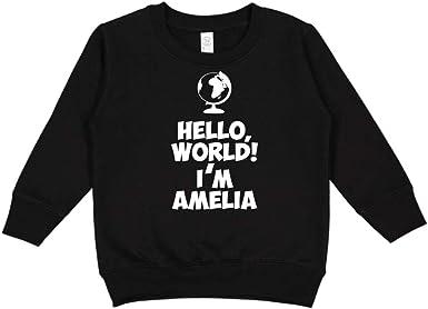 Personalized Name Toddler//Kids Long Sleeve T-Shirt Im Amelie Mashed Clothing Hello World