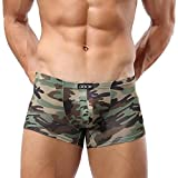 Banana Bucket Mens Sexy Camouflage Military Low Rise U Pouch Underwear Boxer Brief, Green, US L = Asian Tag 2XL