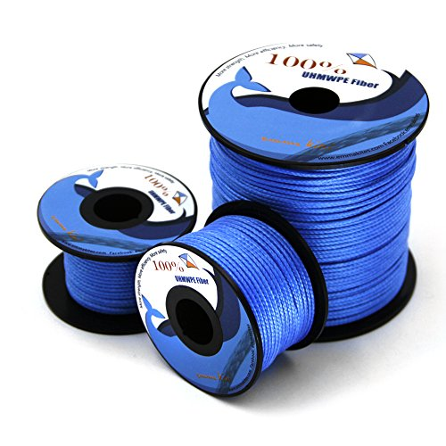 emma kites 100~350lb Blue and Red UHMWPE Kite Line String for Large Stunt Traction Kite Flying Fishing Outdoor General Purpose High Strength Excellent Resistant to Moisture UV Abrasion