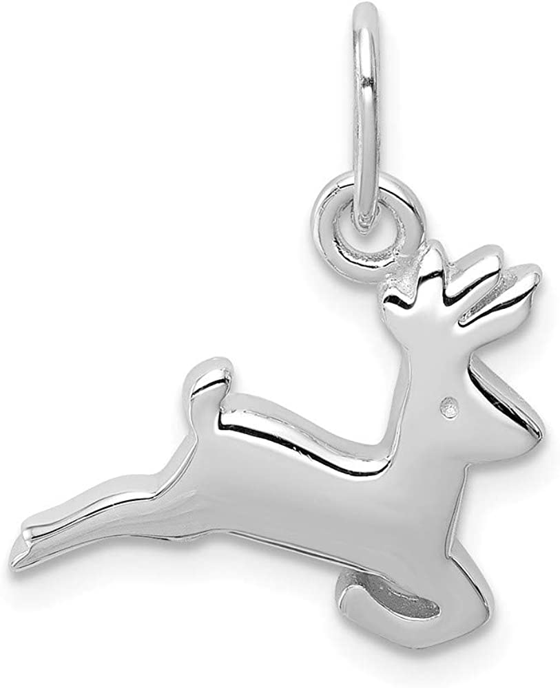 20mm x 15mm Solid 925 Sterling Silver Running Deer Charm Pendant