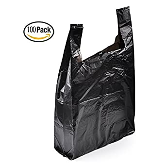 Amazon.com: YookeeHome 100PCS Black Plastic T-shirt Bags with ...