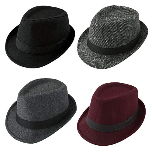 (Unisex Classic 20s Manhattan Cotton Twill Herringbone Trilby Fedora Hat Band Casual Jazz Wool Cap)