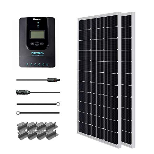 (Renogy 200 Watt 12 Volt Monocrystalline Solar Starter Kit w/ 40A Rover MPPT Charge Controller + MC4 Connectors +Tray Cable+ Mounting Z Brackets for RV, Boat)