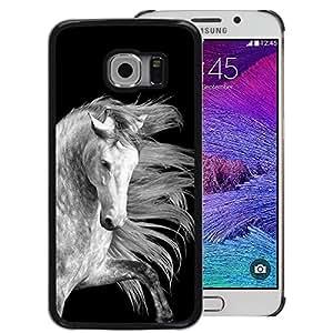 Red-Dwarf Colour Printing Horse Black White Grey Mane Proud - cáscara Funda Case Caso de plástico para Samsung Galaxy S6 EDGE SM-G925