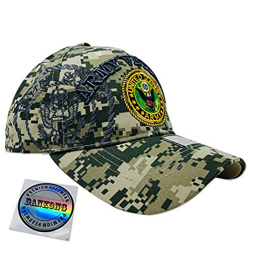 DANKONG Acrylic Military Hat - US Warriors Official Licensed Army Hat 3D Embroidered with Size Adjustable Hoop and Loop Closure for Men and Women - Army Veteran - Circle Logo - Ball Cap Camo Digital