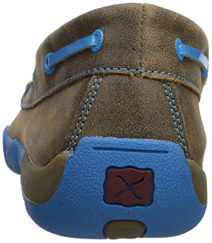 Driving Lace Bomber Rubber Sole X Twisted Up Blue Mens Moccasin Leather Resistant Brown Slip Neon q7FtTzFw