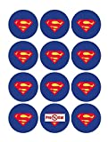 35 x Pre Cut Superman Logo Cake, Cupcake Toppers/Decorations Edible Wafer Paper
