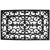 J&M Home Fashions Heavy Duty Natural Rubber Outdoor Doormat, 24x36'', Entry Way Shoes Scraper Patio Rug Dirt Debris Mud Trapper Waterproof-Wrought Iron