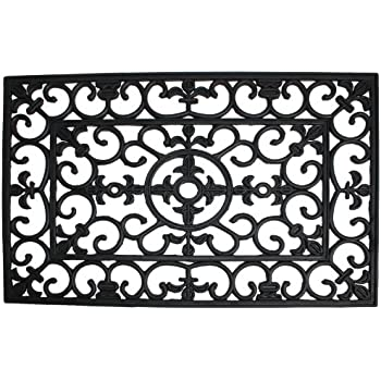 Amazon Com Kempf Rubber Scroll Doormat Rectangular Home
