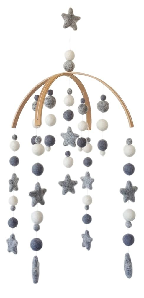 100/% NZ Wool Colored Felt Ball Mobile for Your Boy or Girl Babies Bed Room Designer Colors to Match Your Nursery and Delight Your Child Grey /& White Baby Crib Mobile Tik Tak Design Co